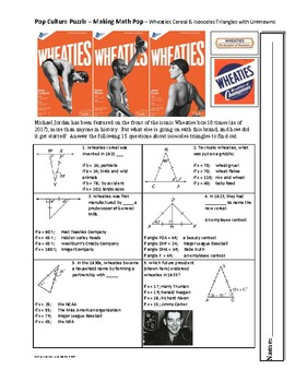 Pop Culture Puzzle - Isosceles Triangles with Unknowns - Wheaties Cereal Trivia