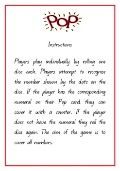 Pop Dice Recognition Game