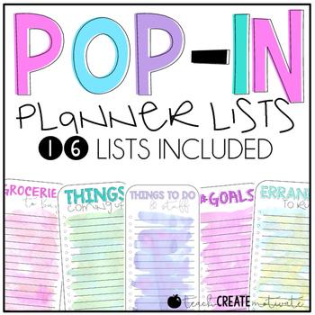 Pop In Planner Lists