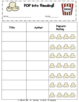 Pop Into Reading!  Popcorn Theme Bookmarks and Reader's Log
