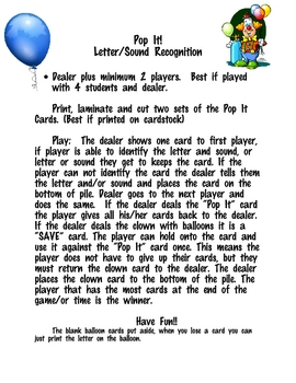 Pop It! Letter Name and Letter Sound Recognition Game