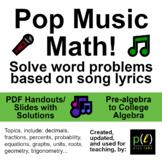 Pop Music Math - Word problems from song lyrics - Handouts