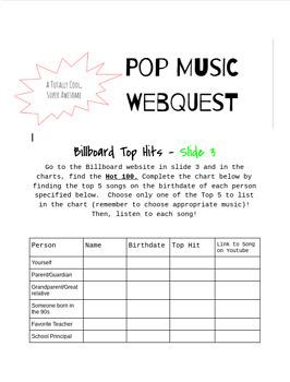 Pop Music WebQuest