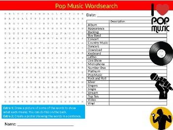 Pop Music Wordsearch Sheet Starter Activity Keywords Popular Musicians