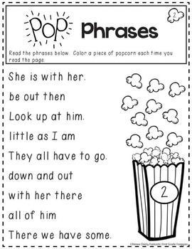 Pop Phrases- Sight Word Fluency Practice