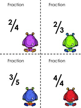 Pop-Pop Math (Monsters Edition) Fractions  and Decimals Matching Game