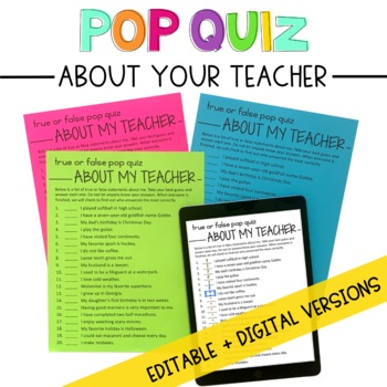 Pop Quiz About Your New Teacher: An Editable First Day of School Activity