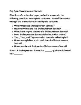 Pop Quiz- Shakespearean Sonnets
