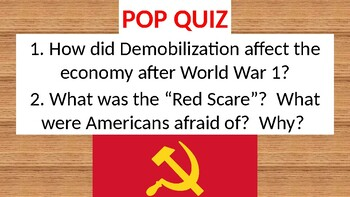 Pop Quiz for Demobilization / The 1st Red Scare