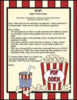 Pop! Sight Word Game