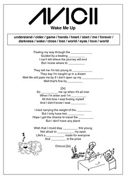 10 Printable Pop Song Gap Fill Worksheets!