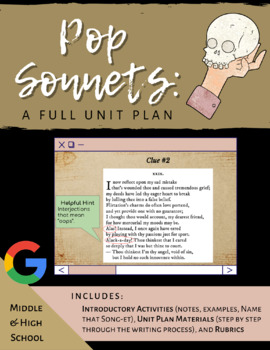 Pop Sonnets: A Unit Plan (editable)