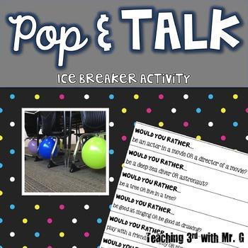 Pop & Talk Ice Breaker Activity Freebie