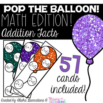 Pop The Balloon! Addition Facts Math Game
