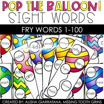 Pop The Balloon! Fry Words 1-100