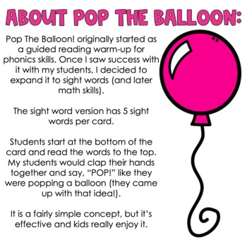 Pop The Balloon! Fry Words 1-400 Bundle