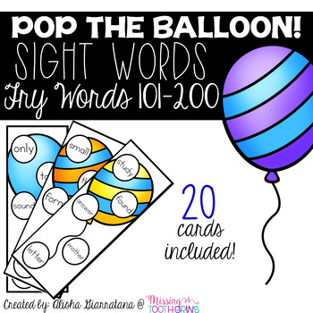 Pop The Balloon! Fry Words 101-200