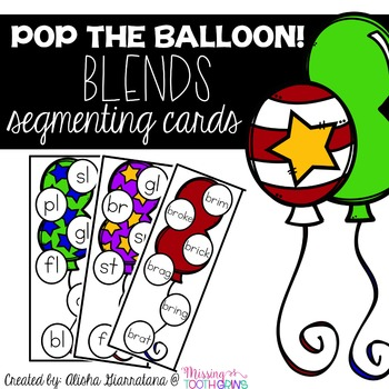 Pop The Balloon! Segmenting Blends Cards