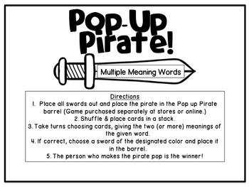 Pop-Up Pirate Game Companion:  Multiple Meaning Words