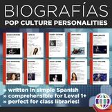 Pop culture personalities: Simple biographies in Spanish