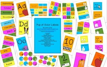 Pop of Color Classroom Labels