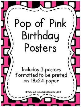 Pop of Pink Birthday Posters
