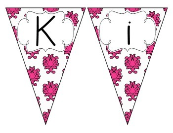 Pop of Pink Damask Welcome Pennant