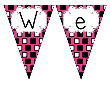 Pop of Pink Squares Welcome Pennant
