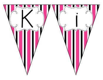 Pop of Pink Stripes Welcome Pennant