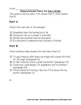 Pop's Bridge Comprehension Tickets - 3rd Grade Journeys Test Prep