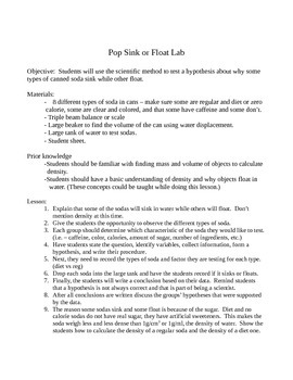 Pop sink or float lab - Scientific method
