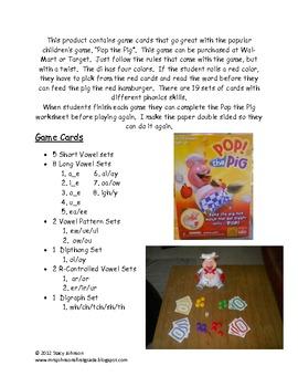 Pop the Pig Literacy Center Game