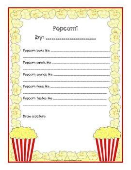 Popcorn 5 senses writing