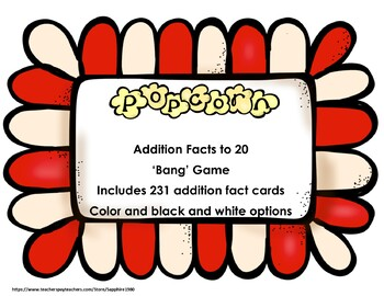 Popcorn Addition Facts to 20 Bang Game