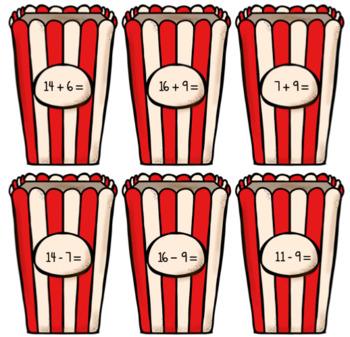 Popcorn Addition and Subtraction File Folder tasks