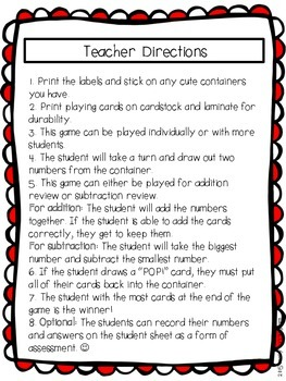 Popcorn Addition and Subtraction Freebie