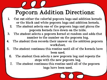 Popcorn Addition and Subtraction Math Center