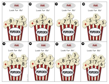 Popcorn Addition using 3, 4, 5, and 6 Addends