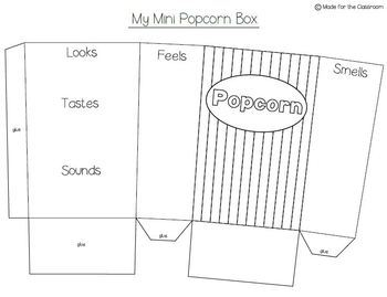 Popcorn Adjectives Mini Boxes Craftivity