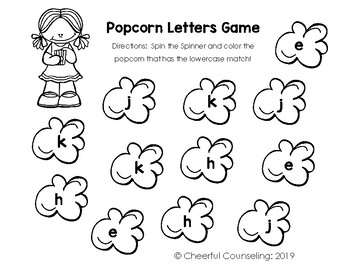 Popcorn Alphabet Matching: Spinners and Popcorn Worksheets