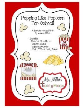 Popcorn Back to School Unit! First week Activities!