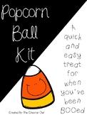 Popcorn Ball Kit -- Halloween Treat Tag