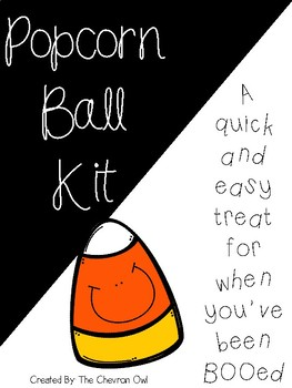 Popcorn Ball Kit -- Halloween Treat Tag