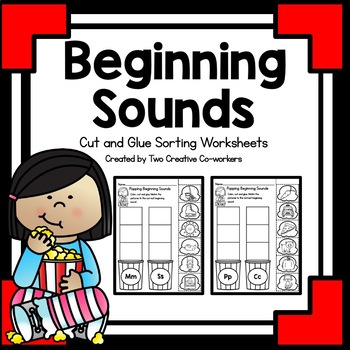 Beginning Sounds - Cut & Glue worksheets {Popcorn Themed}