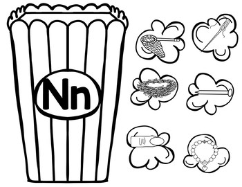 Popcorn Beginning Sounds Sorting Center Ink Saving Black and White included