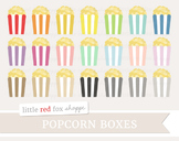 Popcorn Box Clipart; Movie Theater, Film, Snack