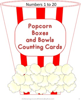 Popcorn Boxes and Bowls Couning Cards