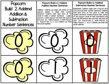 Popcorn Build 2 Addend 0-20 Addition & Subtraction Number Sentences