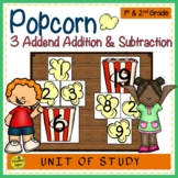 Popcorn Build 3 Addend Addition & Subtraction Sentences
