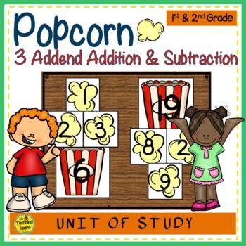 Popcorn Build 3 Addend Addition & Subtraction Sentences